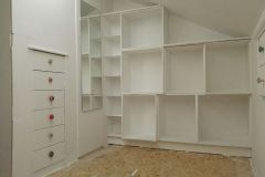 Series of wooden boxes to form shelving