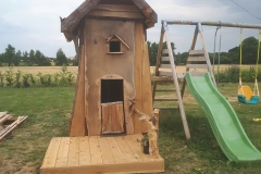 Rustic Playhouse with Slide
