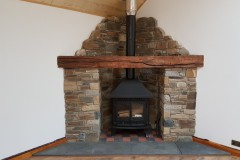 Natural Stone with Rustic  Oak Mantel